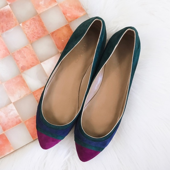 Talbots Shoes - Talbots • Suede Colorblock Pointed Toe Flats